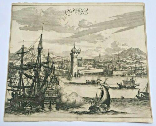 CUBA HAVANA 1673 Arnold MONTANUS RARE LARGE ANTIQUE ENGRAVED VIEW 17TH CENTURY