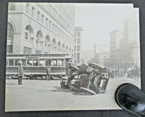 Vintage New York City Police Photo of Auto Accident with NYC Railway Car