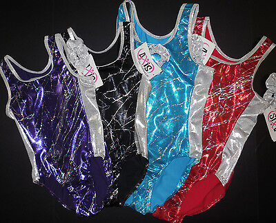 NWT Axis Gymnastic Leotard 4 Foil Colors Choices w/ Scrunchie Adult/Child  97096