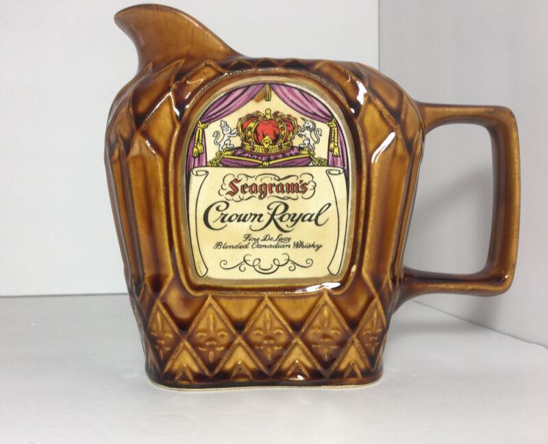 Vintage Seagrams Crown Royal Limited Edition Water Jar Stoneware Barware Brown