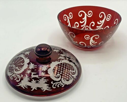 Vintage Bohemian Ruby Red Glass Lidded Bowl with Castle ,Stag, and Bird Motifs