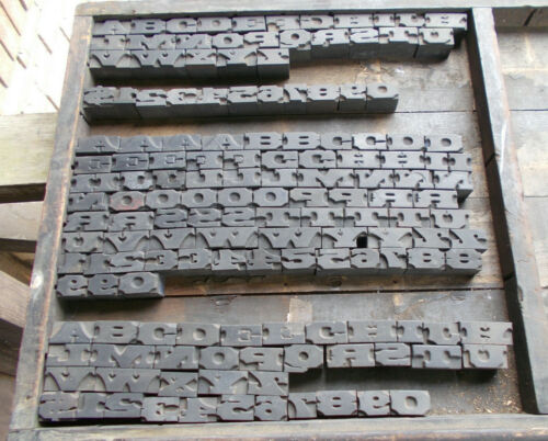 Vtg Letterpress Wood Type Printer Blocks-2 Complete Alphabet Plus More-151 Pcs