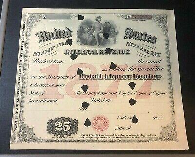 1877 US Internal Revenue Special Tax Stamp RETAIL LIQUOR DEALER $25 Coupon