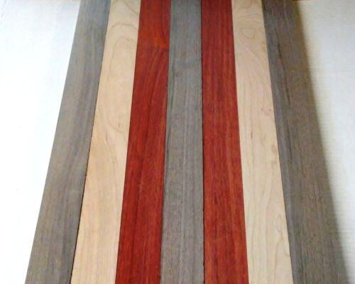 "2 PADAUK 3 Black Walnut 2 CHERRY 3/4"" x 2"" x 16"" Wood Cutting Lumber Boards"