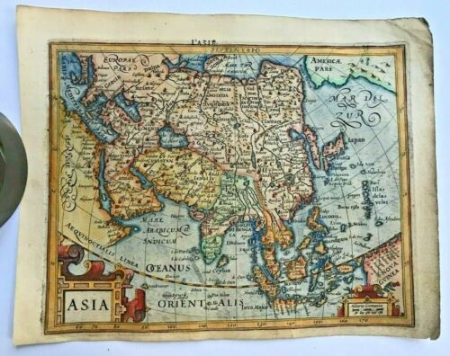 ASIA 1613 MERCATOR HONDIUS ATLAS MINOR NICE ANTIQUE MAP IN COLORS 17TH CENTURY