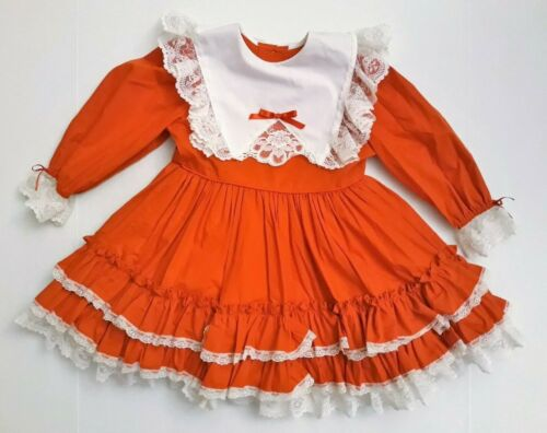Vintage LILO Size 5 Full Circle Ruffles Lace Bows RED Dress USA MADE