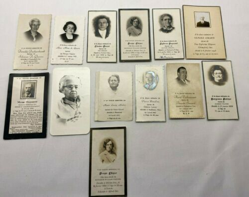 Vintage Lot of 13 Death Funeral Notice Mourning Cards Canada P-1