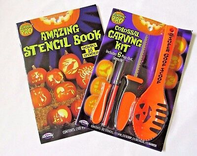 Halloween Pumpkin Carving Kit 4 Tools 6 Stencils Extra Book Of 10 Stencils New - Halloween Pumpkin Carvings Stencils