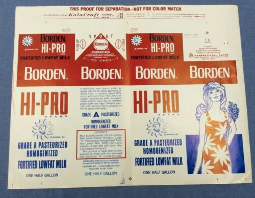 Original 1975 Borden Hi-Pro Lowfat Milk 1/2 Gal Carton Printer Proof Advertising