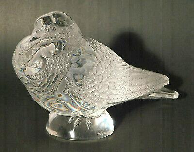 Superb Lalique Crystal Life Size Pigeon Bruges Figurine Signed Mint Scarce