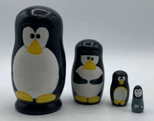 "Penguin Nesting Dolls Hand Painted 5"" Tall"
