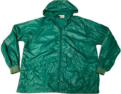 Vintage Lacoste Izod Green XL Windbreaker Jacket Crocodile Alligator Full Zip