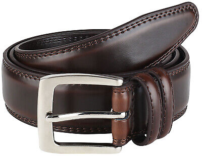 Men's Dress Belt ALL Genuine Leather Double Stitch Classic Design 35mm All Sizes (Double Stitch Leather Belt)