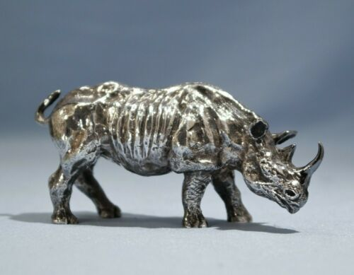 Sterling Silver Figure of a Rhinoceros Mounted Goat Hallmark 20th Century