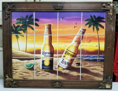 """28.5"""" x 22.5"""" Corona Beer picture Frame sunset beach theme Crown Imports"""