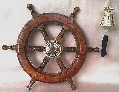 PIRATENSET STEUERRAD 31cm MIT BEFESTIGUNGSMATERIAL + GLOCKE  PIRAT (Piraten Dekorationen Ideen)