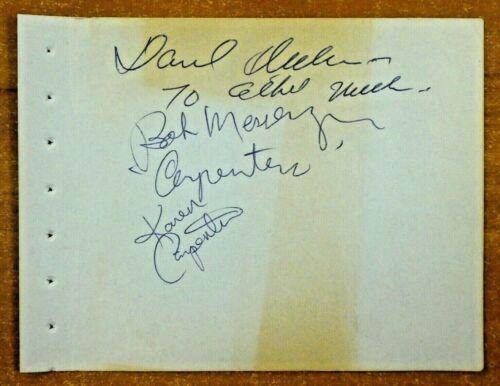 Karen Carpenter Music Legend Signed Album Page with Full JSA Letter