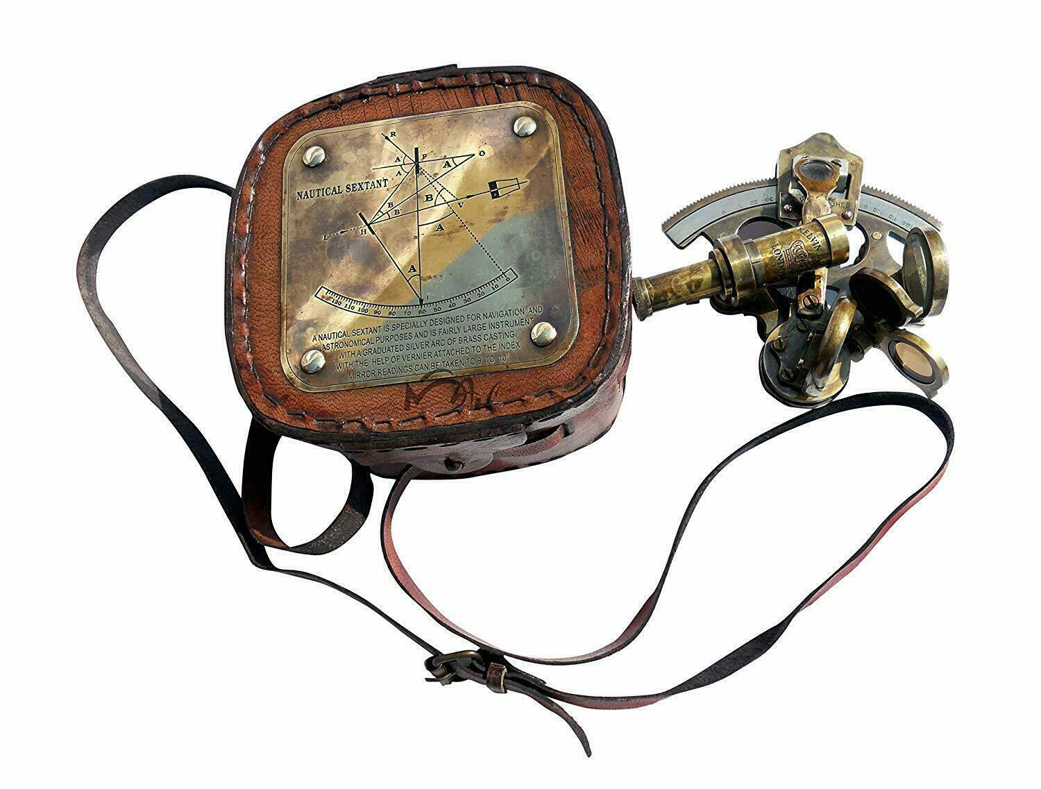 Antique Brass Nautical Sextant With Leather Box- Ship Vintage Pocket Sextant - $29.00