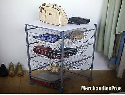 4-DRAWER WIRE STEEL MOBILE STORAGE ROLLING CART WITH TOP SHELF  NEW IN BOX!