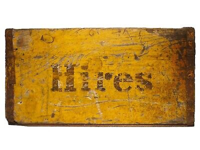 VINT HIRES ROOT BEER WOOD BOX SODA CRATE, W/GLDN YLLW PAINT/BROWN STENCILED FONT