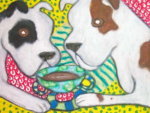 American Bulldog Collectible Art Giclee Print 4 x 6 by Artist KSams Coffee Dogs