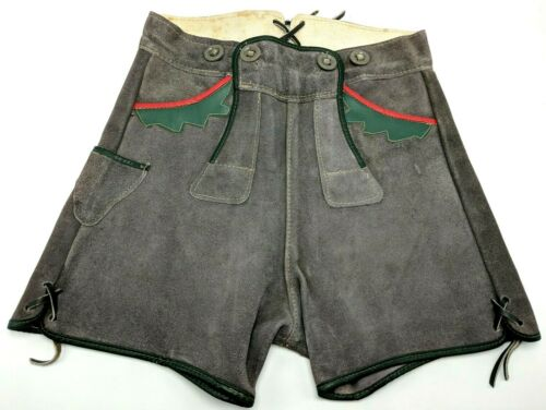 Vintage Child Youth Authentic German Oktoberfest Lederhosen Shorts Suede 23""