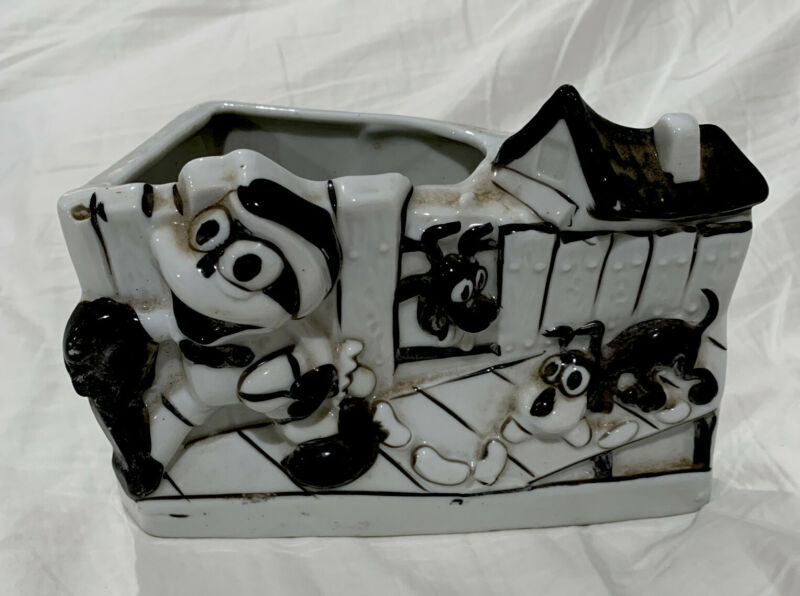 Flip The Frog Planter 1930's Black And White Made In Japan Scarce Find