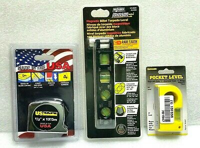 3x Big J Billet Magnetic Level Pocket Level Power Tape Measure 3x Grainger