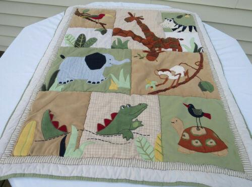 """Handmade Quilt Baby Crib Blanket  35"""" x 44"""" Africa Animals"""