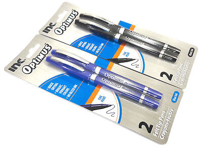 2 Packs 4 Felt Tip Pens Inc Optimus Black Blue Ink Fine Point Quick Drying