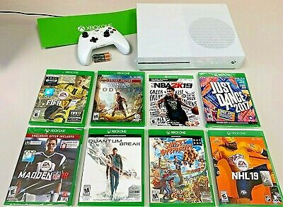 Microsoft Xbox One S 1TB White Console EIGHT-GAME Bundle + Controller! 😲🔥🔥