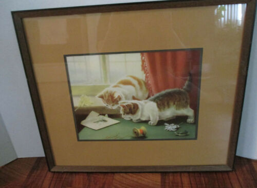 Framed Picture Of Two Kittens Playing