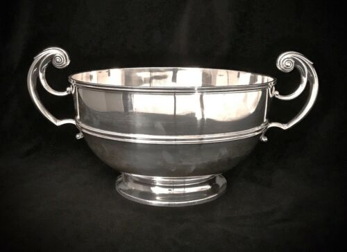 "Beautiful Antique Sterling Silver Scottish Rose Bowl -Hamilton & Inches 11"" Dia"