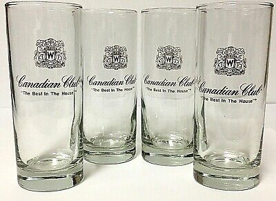 Vintage Canadian Club Whiskey Collins Tumbler Cocktail Bar Glass Set Of (Canadian Club Glasses)
