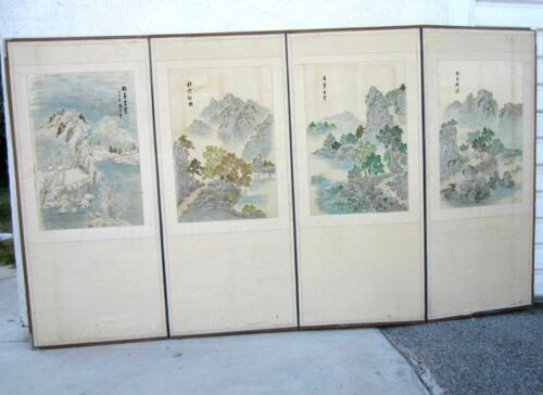 """Antique Korean Hand Embroidered 4 Panel Folding Screen: 57""""H x101""""W(148x 257 CM)"""