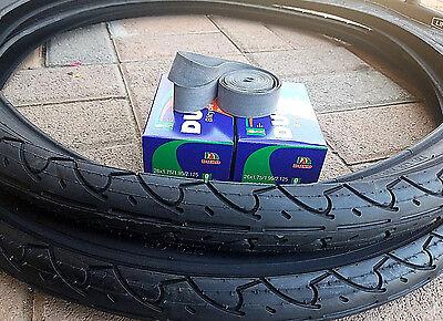 2-26x1.95 Duro Beach Cruiser BLACK Slick Tires + 2 Tubes for Cruiser Bikes (Best Mountain Bike Tyre Combination)