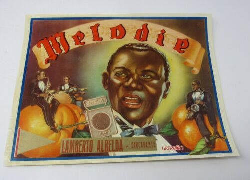 ORIGINAL 1930s Fruit Label Melodie Lamberto Albelda Jazz Black Americana RCA Mic