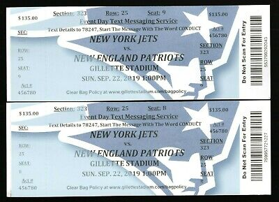 2 Sept 22, 2019 New England Patriots & New York Jets Full Tickets Brady 30-14 NE