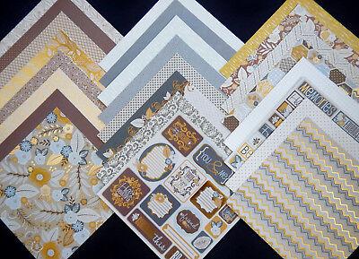 12X12 Scrapbook Paper Cardstock DCWV Linen Closet Clean Classic Neutrals Gold 24 (Gold Card Stock)