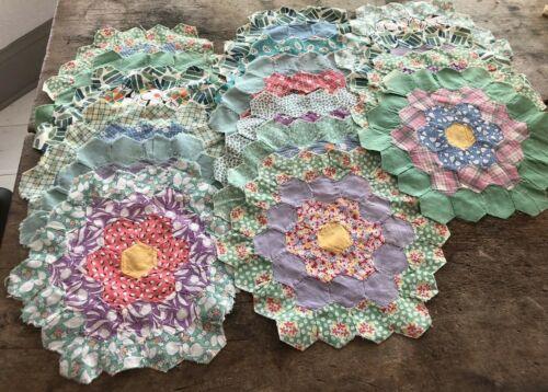 1930's 16 individual Flower Garden Pattern Quilt Blocks