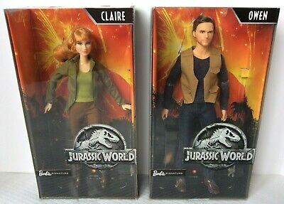 "BARBIE Signature Jurassic World OWEN & CLAIRE Lot of 2 Dolls 12"" Chris Pratt NEW"
