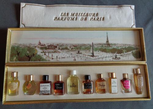 Vintage 10 Pc Mini Perfume Set Les Meilleurs Parfums de Paris Gold Box High End