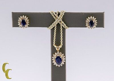 "14k Yellow Gold Oval Sapphire and Diamond Earrings and Pendant w/ 16"" Chain"