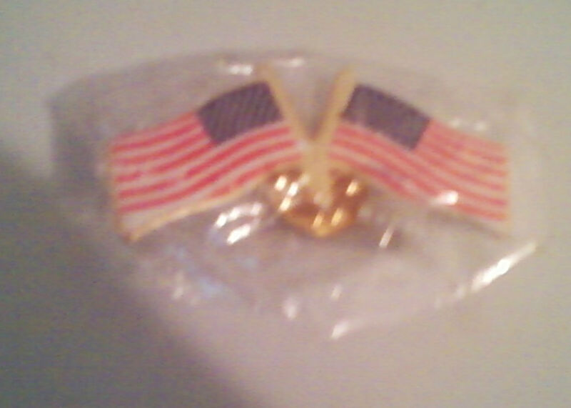 NWOT Metal United States two flags lapel pin (B)