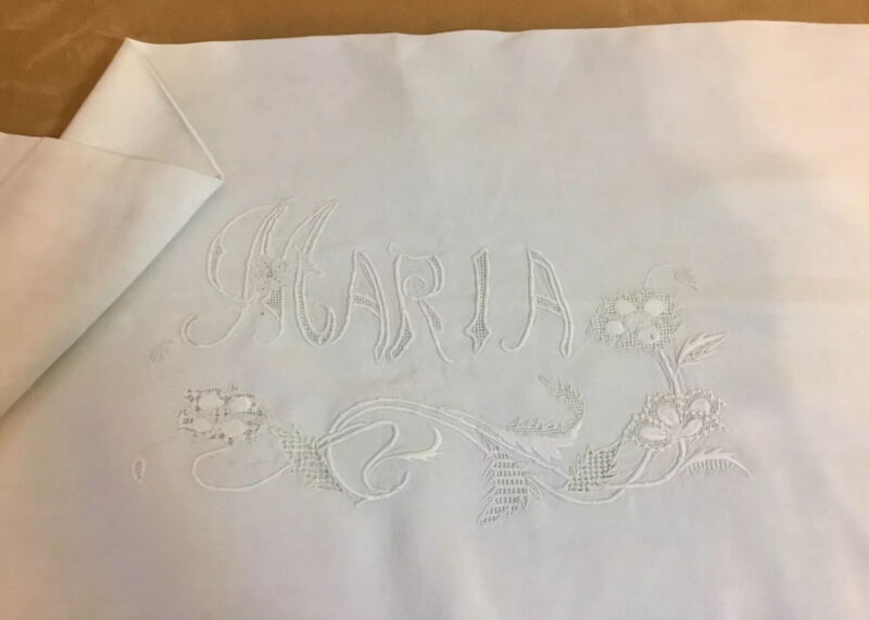 Antique Vintage Long Pillow Cover, Antique White, Maria & Flower Embroidery