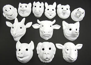 Plain-Animal-Masks-White-Face-Mask-Plain-Fancy-Dress-Childrens-Mask-With-Elastic