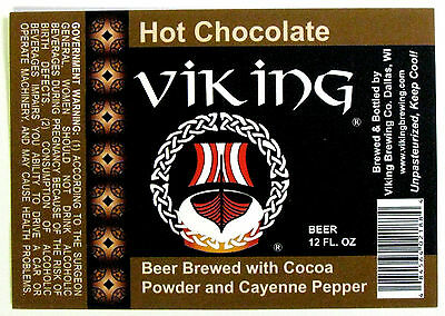 Viking Brewing VIKING HOT CHOCOLATE beer label WI 12oz