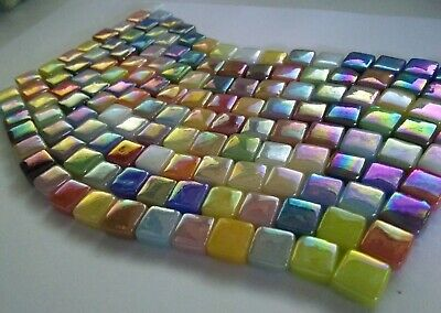 8 Mm Iridescent Recycled Glass Mosaic Tiles - Mixed Colors - 4 Mm Thick - 100 Ct
