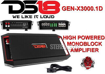 DS18 GEN-X3000.1D 3000 Watt 1 Channel Monoblock Amplifier Class D Mono Car Amp ()