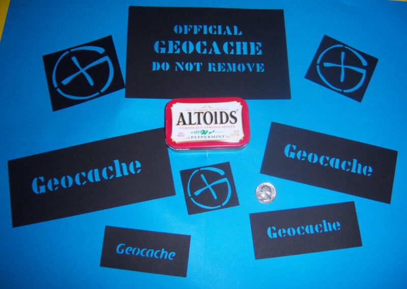 Geocaching Stencils x 16 for Decorating Geocache Containers - machine cut